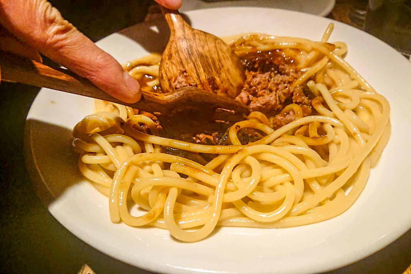 RODEOのミートスパゲティの調理課程